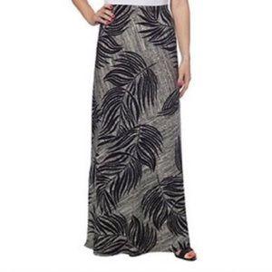 Matty M Tropical Print Black & White Maxi Skirt
